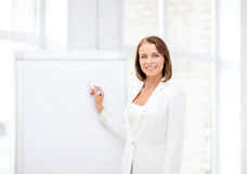 Smiling businesswoman writing on flipchart Stock Photography