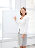 Smiling businesswoman writing on flipchart Royalty Free Stock Images