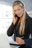Smiling businesswoman writing notes Royalty Free Stock Photography