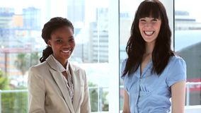 Smiling businesswomen shaking their hands stock video