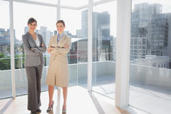 Smiling businesswomen standing in bright office Stock Image