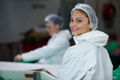 Smiling butcher standing in meat factory Stock Photography
