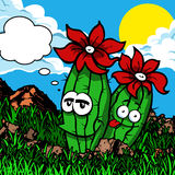 Smiling Cactus plant with speech bubble. Royalty Free Stock Photos