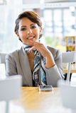 Smiling Cafe Woman Stock Photography
