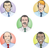 Smiling call center employees. Vector illustration of smiling call center employees. Easy-edit layered vector EPS10 file scalable to any size without quality Royalty Free Stock Image