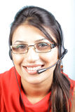 Smiling call center executive Stock Images