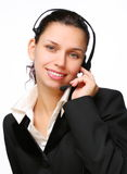 Smiling call-center operator. Royalty Free Stock Images
