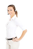 Smiling call center woman Stock Images