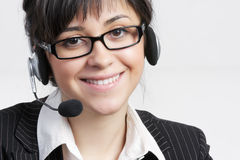 Smiling call center worker Stock Image