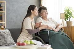 Happy disabled elderly woman Stock Photo