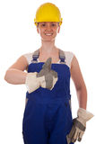 Smiling carpenter showing thumbs up Royalty Free Stock Photos