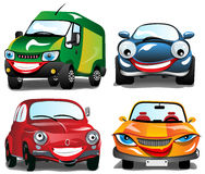 Smiling Cars. 4 different Smiling Cars in 4 colors Royalty Free Stock Images