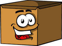 Smiling carton shipping box. Stock Photography