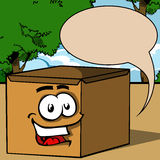Smiling carton shipping box with speech bubble. Royalty Free Stock Image