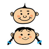 Smiling cartoon baby boy and girl. On white background Royalty Free Stock Photo