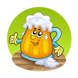 Smiling cartoon beer on wooden table Royalty Free Stock Image