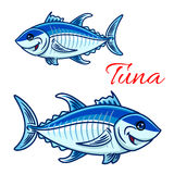 Smiling cartoon bluefin tunas for fishing design Stock Photography
