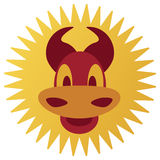 Smiling cartoon bull. In warm tones Royalty Free Stock Photography