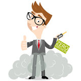 Smiling cartoon businessman giving thumbs up holding car keys labeled zero-emission whilst standing in exhaust gases. Vector illustration of cartoon car salesman Royalty Free Stock Photo