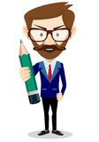 Smiling cartoon Businessman hipster in jacket with Stock Photography