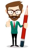 Smiling cartoon Businessman or teacher in jacket Stock Photography
