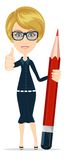Smiling cartoon Businesswoman or teacher giving Royalty Free Stock Photos