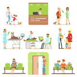 Smiling Cartoon Characters Bringing Their Pets For Vet Examination In Veterinary Clinic Collection Of Illustrations Stock Image
