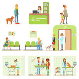 Smiling Cartoon Characters Bringing Their Pets For Vet Examination In Veterinary Clinic Set Of Illustrations Stock Photography