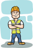 Smiling cartoon construction worker with arms crossed. Vector illustration of smiling cartoon construction worker with arms crossed. Easy-edit layered vector Stock Photo