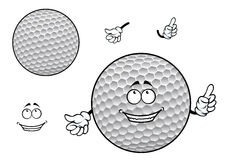 Smiling cartoon dimpled white golf ball character Stock Photos