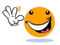 Smiling cartoon emoticon emoji. Waving hand on white Royalty Free Stock Photo