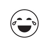 Smiling Cartoon Face Laugh Positive People Emotion Open Mouth Icon. Vector Illustration royalty free illustration