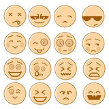 Smiling Cartoon Face Set Negative And Positive People Emotion Icon Collection. Vector Illustration Stock Image