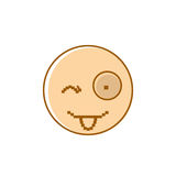 Smiling Cartoon Face Show Tongue Positive People Emotion Icon Stock Image