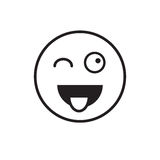 Smiling Cartoon Face Show Tongue Positive People Emotion Icon Royalty Free Stock Photos