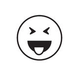 Smiling Cartoon Face Show Tongue Positive People Emotion Icon Royalty Free Stock Image