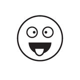 Smiling Cartoon Face Show Tongue Positive People Emotion Icon Stock Photography