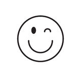 Smiling Cartoon Face Wink Positive People Emotion Icon. Vector Illustration Royalty Free Stock Image