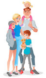 Smiling cartoon family with three kids and pet. Vector illustration isolated on white background. Cute smiling cartoon family with three kids and pet. Vector Royalty Free Stock Photography
