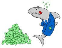 Smiling cartoon financial shark. Vector illustration of a smiling financial shark Stock Image