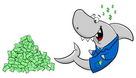 Smiling cartoon financial shark Royalty Free Stock Photo