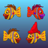 Smiling cartoon fishes. Set of four variations of a cartoon fish Royalty Free Stock Photo