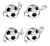 Smiling cartoon football set. Collection of smiling cartoon footballs with various gestures Royalty Free Stock Photography