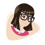Smiling cartoon girl with big glasses Stock Image