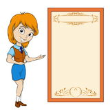 Smiling cartoon girl with placard Royalty Free Stock Photos