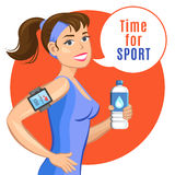 Smiling cartoon girl with water, says let's do fitness. Royalty Free Stock Photo