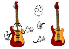 Smiling cartoon guitar character with arms Stock Images