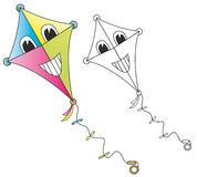 Smiling cartoon kite. On white background. The blank version is useful for coloring book pages Stock Photo