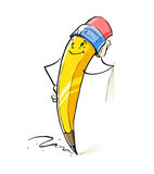 Smiling cartoon lead pencil Stock Photos