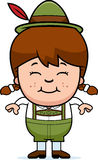 Smiling Cartoon Lederhosen Girl. A cartoon illustration of a German girl in lederhosen smiling Stock Photo